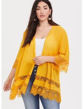 Mustard Yellow Lace Chiffon Kimono by Torrid
