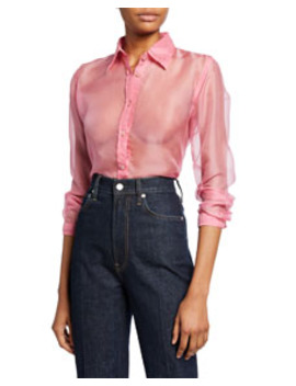 Button Down Long Sleeve Silk Organza Shirt by Helmut Lang