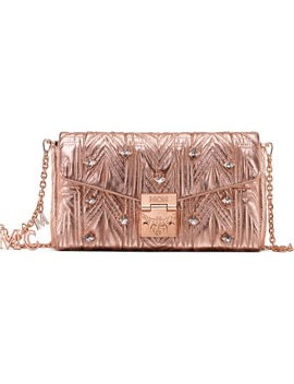 Millie Crystal Matelassé Metallic Leather Clutch by Mcm