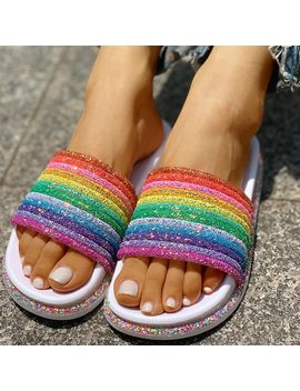 Summer Slippers Shoes Women Shining Rainbow Slides Zapatos De Mujer Flat Beach Slippers Girls by Ali Express.Com