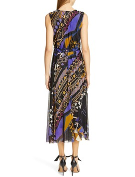 Print Belted Gathered Midi Dress by Fuzzi