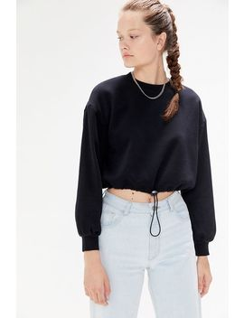 Uo Casey Drawcord Hem Crew Neck Sweatshirt by Urban Outfitters