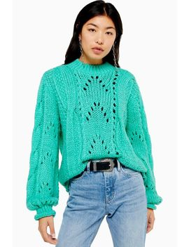 Turquoise Knitted Lofty Jumper by Topshop
