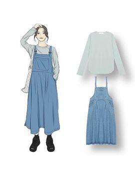 Demain   Plain Long Sleeve T Shirt / Midi Denim Jumper Dress by Demain