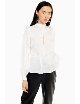 Ivory Beaded Jacquard Top by Topshop