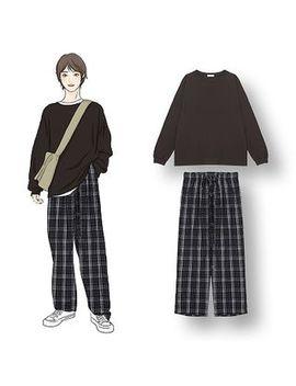 Demain   Plain Long Sleeve T Shirt / Plaid Wide Leg Pants by Demain