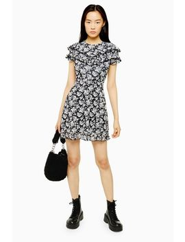 Mesh Ruffle Mini Dress by Topshop