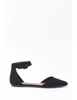 Faux Nubuck Ankle Strap Flats by Forever 21