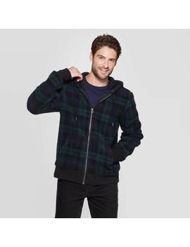 Men's Plaid Sherpa Faux Fur Jacket   Goodfellow & Co Black by Goodfellow & Co Black