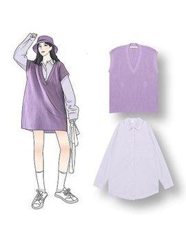 Demain   Plain Shirt / Knit Vest by Demain