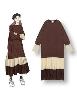 Demain   Mock Two Piece Two Tone Long Sleeve Midi Dress by Demain