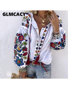 Women Turn Down Collar Boho Long Sleeve Ethnic Floral Printed Blouses Casual Loose Shirt Cotton Linen Tops by Ali Express
