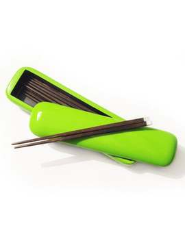 Asian Chopsticks   Pebble With Six Pairs Of Chopsticks Box   Green Lacquer by Etsy