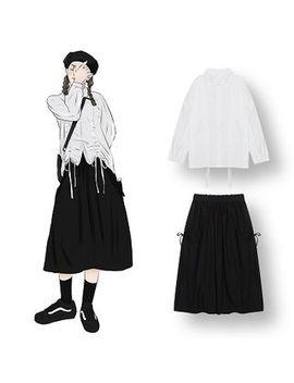 Demain   Plain Drawstring Blouse / High Waist Midi A Line Skirt by Demain