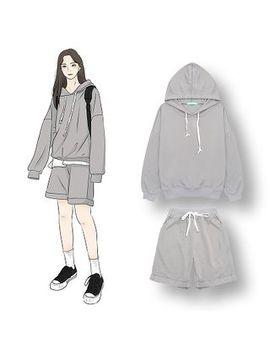 Demain   Set: Plain Hoodie + Drawstring Shorts by Demain
