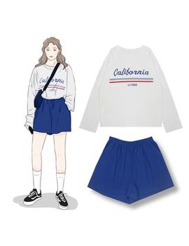 Demain   Lettering Long Sleeve T Shirt / Elastic Waist Shorts by Demain