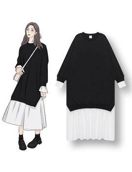 Demain   Mock Two Piece Long Sleeve Midi Dress by Demain