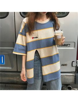 Demain   Striped Elbow Sleeve T Shirt by Demain