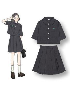Demain   Pocket Detail Short Sleeve Blouse / Pleated Skirt by Demain