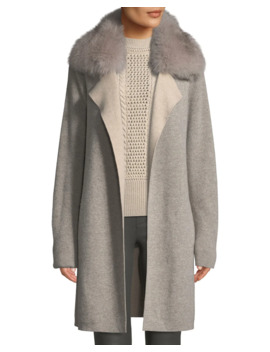 Cashmere Double Face Coat W/ Fur Collar by Sofia Cashmere