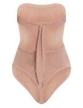 Dusty Pink Bandeau Lurex Tie Back Bodysuit by Prettylittlething