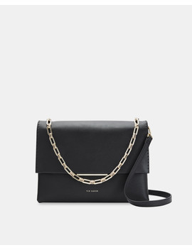 Small Bar Detail Leather Shoulder Bag by Ted Baker