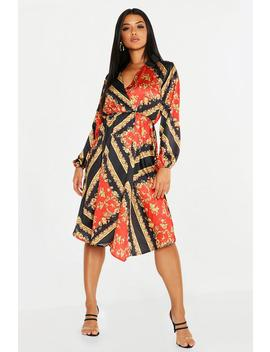 Satin Floral Scarf Print Wrap Midi Dress by Boohoo