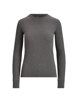 Elbow Patch Rib Knit Top by Ralph Lauren