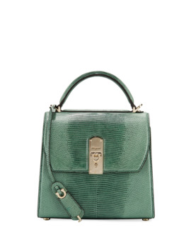 The Boxyz Lizard Top Handle Bag by Salvatore Ferragamo