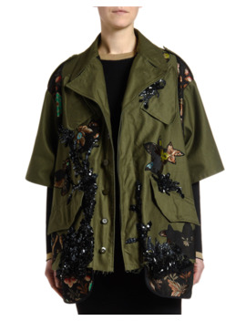 Floral Trim Sequined Crop Jacket by Antonio Marras