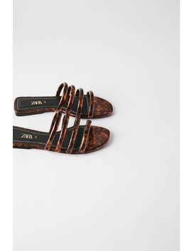Tortoiseshell Tube Strap Slide Sandals View All Shoes Woman by Zara