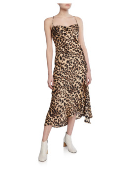Leopard Print Cowl Neck Strappy Slip Dress by Astr