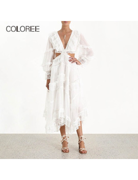 Coloree Autumn Women Midi Dress Sexy Hollow Out V Neck Backless White Dress Vintage Long Sleeve High Quality Runway Dress Female by Ali Express