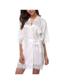 Weefy Summer Women Sexy Short Satin Robe With Lace Trim Sleeves Sleepwear Nightdress by Weefy