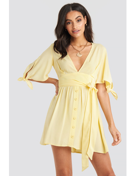 Belted Deep V Mini Dress Yellow by Na Kd