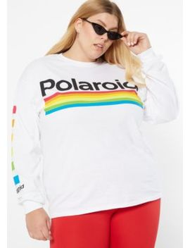 Plus White Striped Polaroid Graphic Tee by Rue21