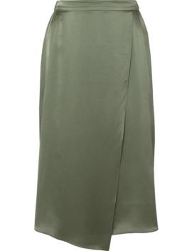 Wrap Effect Draped Silk Satin Skirt by Vince
