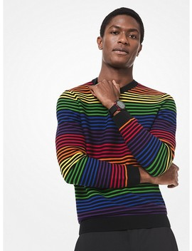Rainbow Stripe Cotton Sweater by Michael Kors Mens