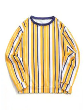 Color Block Vertical Striped Print Casual Sweatshirt   Mustard S by Zaful