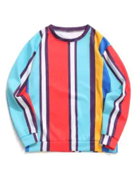 Hot Sale Color Block Panel Vertical Stripes Print Casual Sweatshirt   Blue Zircon S by Zaful