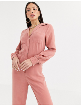 Asos Design Tall Denim Soft Drape Jumpsuit With Longsleeve In Terracotta by Asos Design