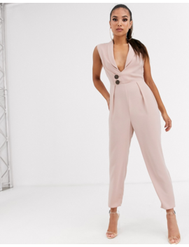 Asos Design Petite Sleeveless Wrap Tux Jumpsuit by Asos Design