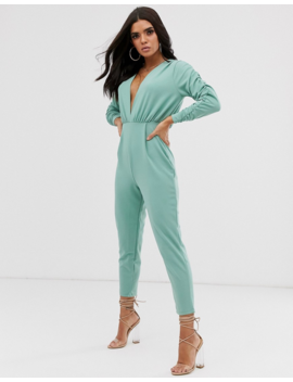 Asos Design Deep Plunge Jumpsuit With Gathered Sleeve Detail by Asos Design