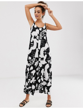 Asos Design Minimal Jumpsuit With Tie Back In Reverse Mono Print by Asos Design