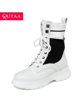 Qutaa 2020 Fashion Mixed Color Cow Leather Knitting Mid Calf Boots Round Toe Square Heel Lace Up Casual Women Shoes Size 34 42 by Ali Express.Com