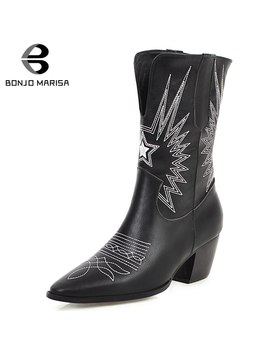 Bonjomarisa New Plus Size 34 48 Brand Design Sewing Booties Ladies Winter Ankle Western Boots Women 2019 High Heels Shoes Woman by Ali Express.Com