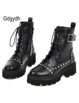 Gdgydh Sexy Rivet Military Boots Women Lace Up Black Leather Ankle Boots Mid Heel Goth Style Short Boots For Autumn High Quality by Ali Express.Com
