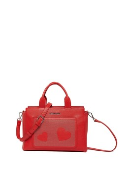 Rosso Heart Studded Handbag by Love Moschino