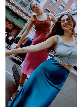 Uo Rowan Midi Satin Slip Skirt by Urban Outfitters