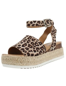 Soda Women's Open Toe Halter Ankle Strap Espadrille Sandal (Oat Cheetah, 7.5 B(M) Us) by Soda